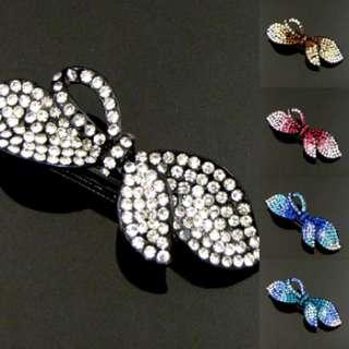 , 1 rhinestone crystal bow tie hair barrette clip