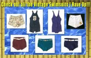 Vintage GANTNER WIKIES Mens Wool Swim Trunks Surf