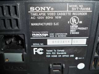 Sony SVT RA168 232 Hour Time Lapse Recorder VHS P&R