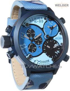 CAMO BLUE Mens 3 Times Chrono 53mm Watch NEW  MATCH