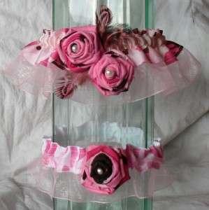 Pink and Brown Camo Shabby Rose Bridal Garter Set