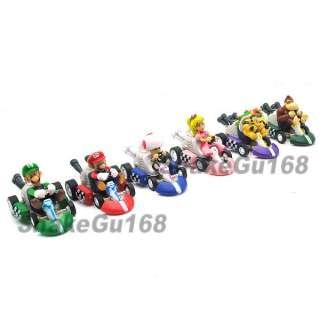 Lot 6 Super Mario 2 Kart Pull Back Car Figure+MS81