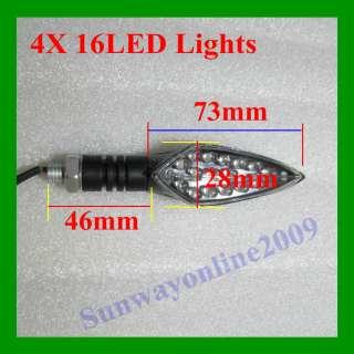4XUniversal 16LED Motorcycle Motorbike Turn Signal Lights Indicators