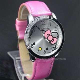 1Pcs Hellokitty Leather Band Quartz Wrist Watch For Unisex 6 Color