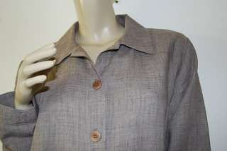 EILEEN FISHER Size M Light Brown Rayon Linen Ramie Blouse Shirt Top
