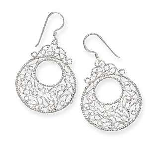 Sterling Silver Circle Filigree Design French Wire Earrings