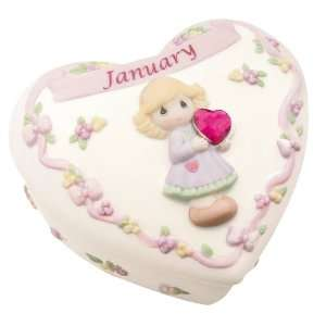 Precious Moments Birthday Heart Covered Box   January