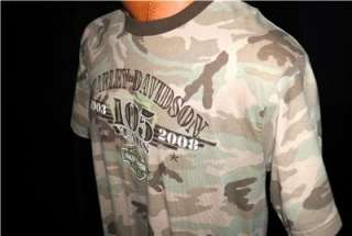 DAVIDSON MOTORCYCLE T SHIRT BURLINGTON, WA COLOR CAMOUFLAGE NICE
