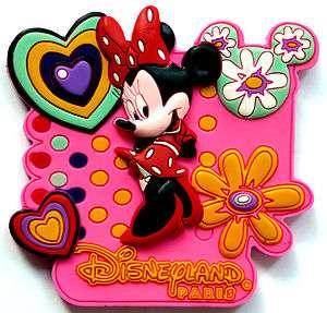 Disneyland Paris MINNIE MOUSE Pink Hearts Fridge Magnet