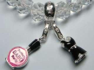 C29   2 Charms Silver White Crystal Bracelet w/Gift Box