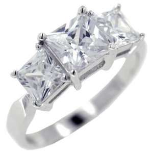 Pugster Square Cut Cz Trio Promise Ring Pugster Jewelry