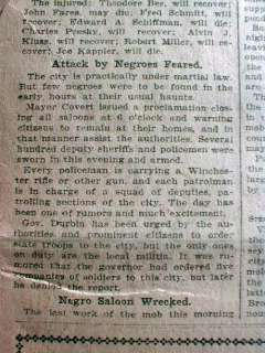 Headline LYNCHING of NEGRO MAN at EVANSVILLE Indiana RACE RIOT