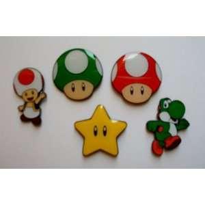 5 Super Mario Yoshi & Mushroom Metal Pin Badge Set