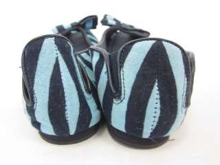 STEVE MADDEN Blue Stripe Peep Toe Flats Shoes Sz 6.5