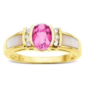 Pink Sapphire and Diamond Accent Ring in 14K Gold Jewelry