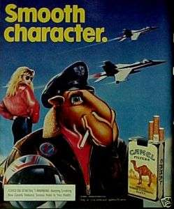 Joe Camel~1988~Cigarettes Pack Air Force Pilot Jet Plane Promo Ad