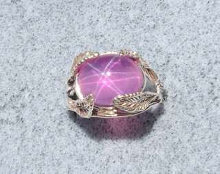 12X10 MM 7+ CT TRANSPARENT PINK STAR SAPPHIRE CREATED SS RING