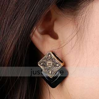 Women Ladies Fashion Retro Black Square Shape alloy Flower Earrings