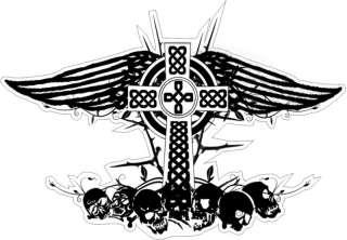 skull VINYL STICKER BUMPER DECAL RELIGIOUS CAR KNOT DESIGN 05