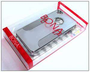 Aluminum Chrome Hard Case Cover for iPhone 4 4S silver Stylus