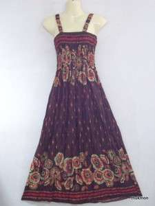 New Spring Summer Floral Casual Long Maxi Dress Skirt Boho Brown,Free