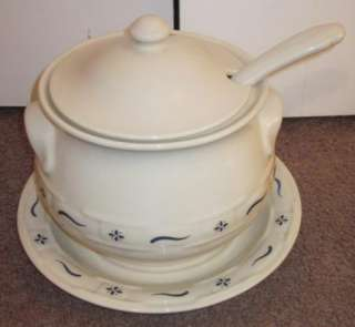 Pottery Classic Blue Woven Traditions Soup Tureen USA RETIRED