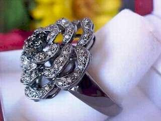 2,890 CHIC SOHO BOUTIQUE SHOPNBC BLACK DIAMOND FLOWER RING 14K BLACK
