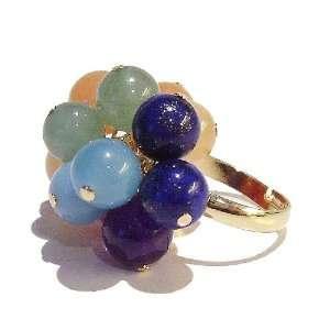 Semi precious Chakra / Meditation Ring   Gold. Adjustable