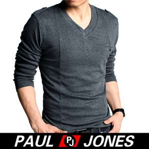 Comfy Cotton Mens Stylish V neck Causal Long Sleeve Tops T Shirt,High