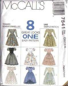 McCalls Sewing Pattern Girls Dress Spring Summer Special Occasion Free