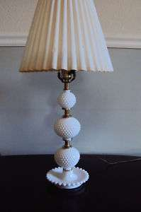FENTON STYLE MILK GLASS HOBNAIL BEDROOM LAMP BEAUTIFUL