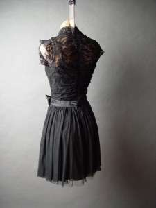 Black Romantic Victorian Vtg y Lace High Neck Satin Bow Skirt Party fp
