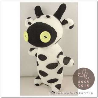Handmade White Black Dots Sock Monkey Cow Stuffed Animals Doll