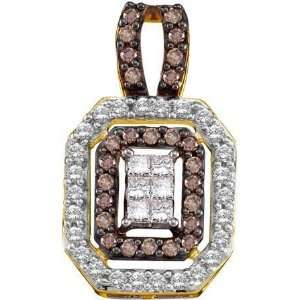 Diamond Fashion Pendant w/ Round Shaped Chocolate & White stones