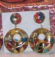 Karla Jordan Red Green Gold Snake Skin Earrings Beauty