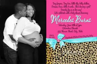 Turquoise, Hot Pink & Cheetah Leopard Baby Shower Invitations