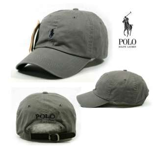 Gray Cap Dark Blue Small Logo Polo Baseball Hat SP77 Golf Tennis