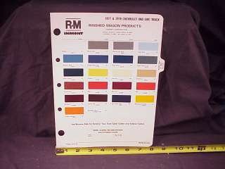 1977 1978 Chevrolet GMC Truck Samples Paint Chips Pages