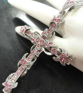 CRYSTALS CROSS SILVER NECKLACE RELIGIOUS JEWELRY CHRISTIAN GIFT