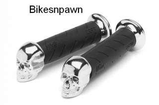 Progrip Custom Chrome Skull Black Motorcycle Grips 7/8