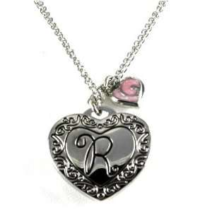 Gorgeous Initial Letter R Heart Locket Necklace Silver