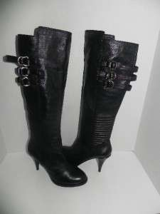 NEW MICHAEL KORS MK CITY LEATHER ASYMMETRIC BLACK BOOTS size 10