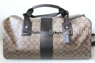 NEW COACH HERITAGE STRIPE DUFFLE Travel Bag F77278 Khaki Brown 77278