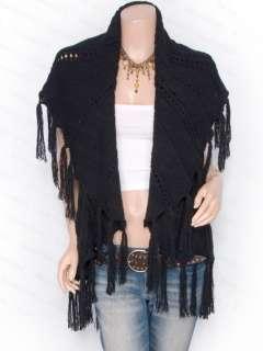 Knit Collared Fringes Eyelets Cardigan Vest Sweater