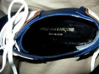 COMME DES GARCONS White Patent Navy & Brown Oxford Shoes Sz 7 US
