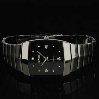 New *Elegant Crystal* Mens Black Stainless Steel Strap Analog Quartz