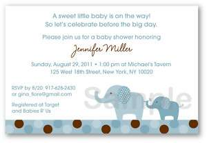 Mod Blue Elephant Baby Shower Invitation Print Your Own
