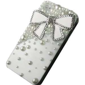 Bling Crystal White Bow Pearl Case Cover for Iphone 4 & 4s