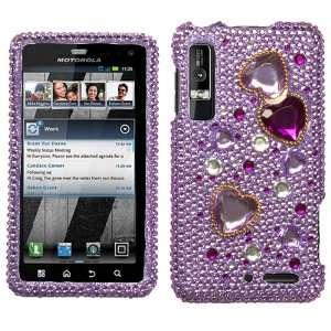 Droid 3 XT862 Diamond Crystal Bling Protector Case   Purple Love Crash