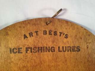 Vintage~Antique~ICE Fishing~Lures~Wooden Sign~Display Stand Board